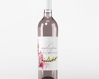 Wedding Wine Label - Custom Wine Label - Personalized Wine Label - Wedding Wine Bottle Label - Monogram Wedding