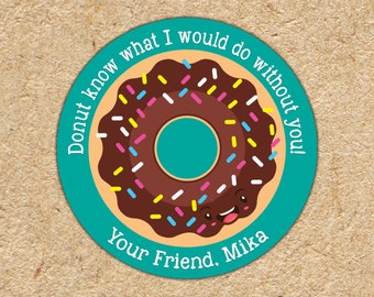 Valentine Stickers | I Donut What I Would Do Without You | Boys Valentine Favors | Donut Stickers | Valentine Tag | Classroom Party Favors