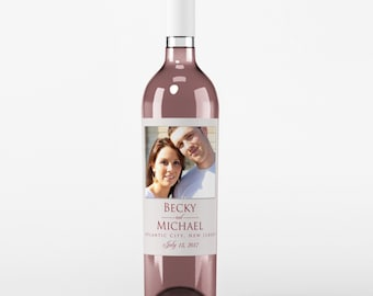 Thank You Wine Labels - Wedding Wine Label - Wedding Wine Bottle Label - Wedding Thank You Wine Labels - Photo Wine Label