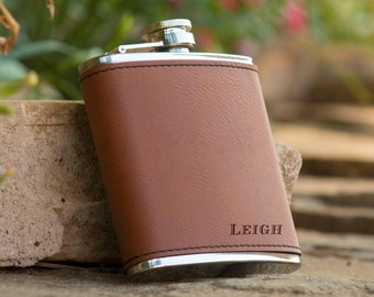 Personalized Brown Leather Wrapped Flask - Groomsman Flask - Best Man Flask - Personalized Flask  Gift for Him  Boyfriend Gift  Husband Gift