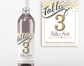 Table Number Wine Labels - Wedding Wine Favors - Table No Wine Labels - Wedding Table Decoration - Personalized  Wine Labels - Set of 4