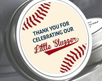 "80 Personalized Baseball Baby Shower Mint Tins - Need a different quantity? Click on the ""choose total"" tab to see all pricing"