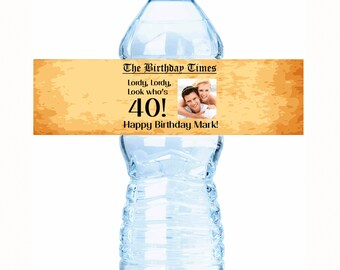 """20 Photo  Headlines Parchment Birthday Water Bottle Labels - Select the quantity you need below in the """"Pricing & Quantity"""" option tab"""