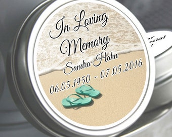 12 Personalized Flip Flop Mint Tin Favors - In Loving Memory - Memorial Mints