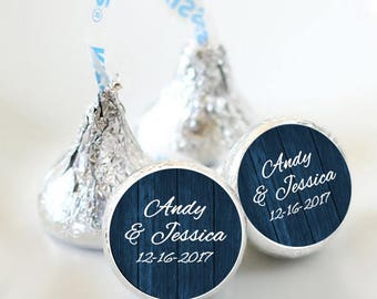 108 Rustic Wedding Hershey Kiss® Stickers - Names and Date Stickers  - Personalized Hershey Kiss Labels - Hershey Kiss Seals - Navy Blue