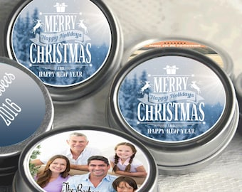12 Personalized Christmas Mint Tins Favors - Family Photo  - Christmas Favors - Happy New Year - Happy Holidays - Stocking Stuffers