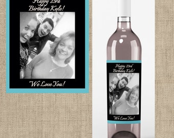 Birthday Photo Wine Labels - Birthday Favors -Birthday Wine Labels - Birthday Decor - Personalized Birthday Labels - Wine Labels