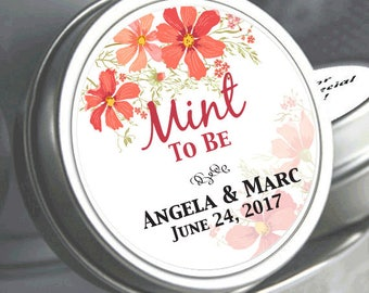 Mint to Be Wedding Favors - Personalized Wedding Mint Tins - Personalized Wedding Favors - Wedding Decor - Tropical Flowers - Flowers