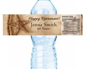 30 Personalized Starfish Retirement Water Bottle Labels - Ocean Themed Retirement Labels - Retirement Bottle Labels - Retirement Favor Ideas