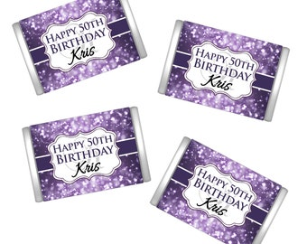 50th Birthday Hershey's Miniatures Chocolate Wrappers - Birthday Chocolate Wrappers - Birthday Decor - Purple Birthday