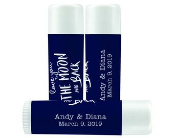 Lip Balm Labels - Personalized Lip Balm Labels - Love You To The Moon and Back - 1 Sheet of 12 Lip Balm Labels - Wedding Lip Balm Labels