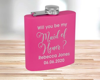 Personalized Matte Pink Flask | Custom Flask | Engraved Pink Flask | Birthday Flask | Wedding Party Gift | Bridesmaid Gift | Pink Flask