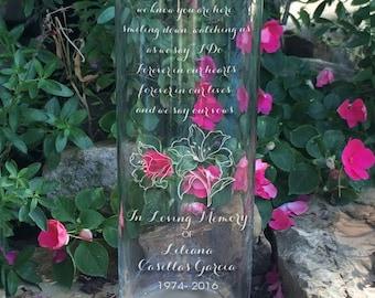 Memorial Vases - In Loving Memory Vase -Floating Wedding Memorial Candle - Memorial Candle - Engraved Memorial Cylinder - Lily Image