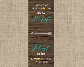 Mint To Be Tic Tac Label, 10 Mint To Be Tic Tac Stickers , Wedding, Bridal Shower Favors, Buttercup and teal, Rustic Wedding Mint Favors