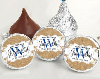 Burlap and Lace Monogram Hershey Kiss® Stickers - Hershey Kiss Stickers Vow Renewal - Personalized Hershey Kiss Labels - Kiss Seals