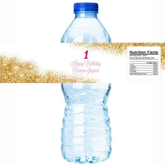 Gold Faux Glitter Water Bottle Label Glitter Birthday Water Bottle