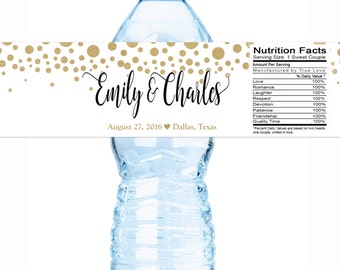 30 Personalized Gold Confetti Dots Waterproof Wedding Water Bottle Labels, Great for Weddings, Anniversaries, Bridal Showers and Birthdays