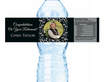 "Ornate Picture Retirement Water Bottle Labels - Select the quantity you need below in the ""Pricing & Quantity"" option tab"
