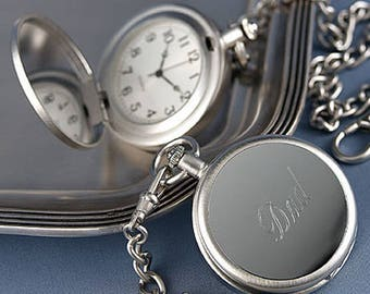Pocket Watch - Personalized Groomsmen Gift - Engraved Pocket Watches with Chains - Father of the Bride - Best Man - Groomsman - Bridal Party