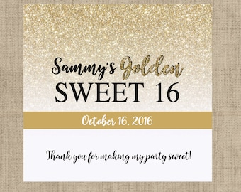 12 Golden Sweet 16 Candy Bar Wrappers for Hershey's Chocolates - Sweet 16 Candy Bar Label - Personalized Candy Bar Labels - Gold Glitter