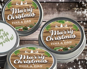 12 Personalized Marry Christmas Mint Tins Favors  - Christmas Wedding Favors - Christmas Favors - Christmas Wedding  Decor