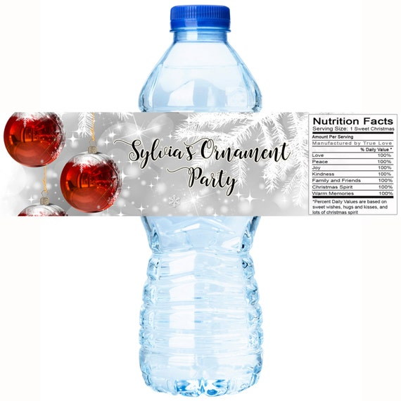 30 Christmas Party Water Bottle Labels Personalized Christmas