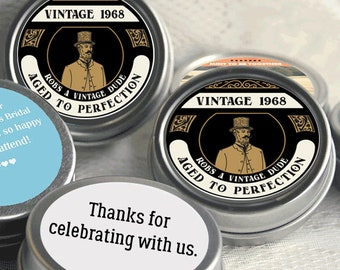 80 Vintage Birthday Mint Tin Favors, Birthday Candy Favors, 50th Birthday Favors, Aged to Perfection Birthday Party Favors, Vintage Favors
