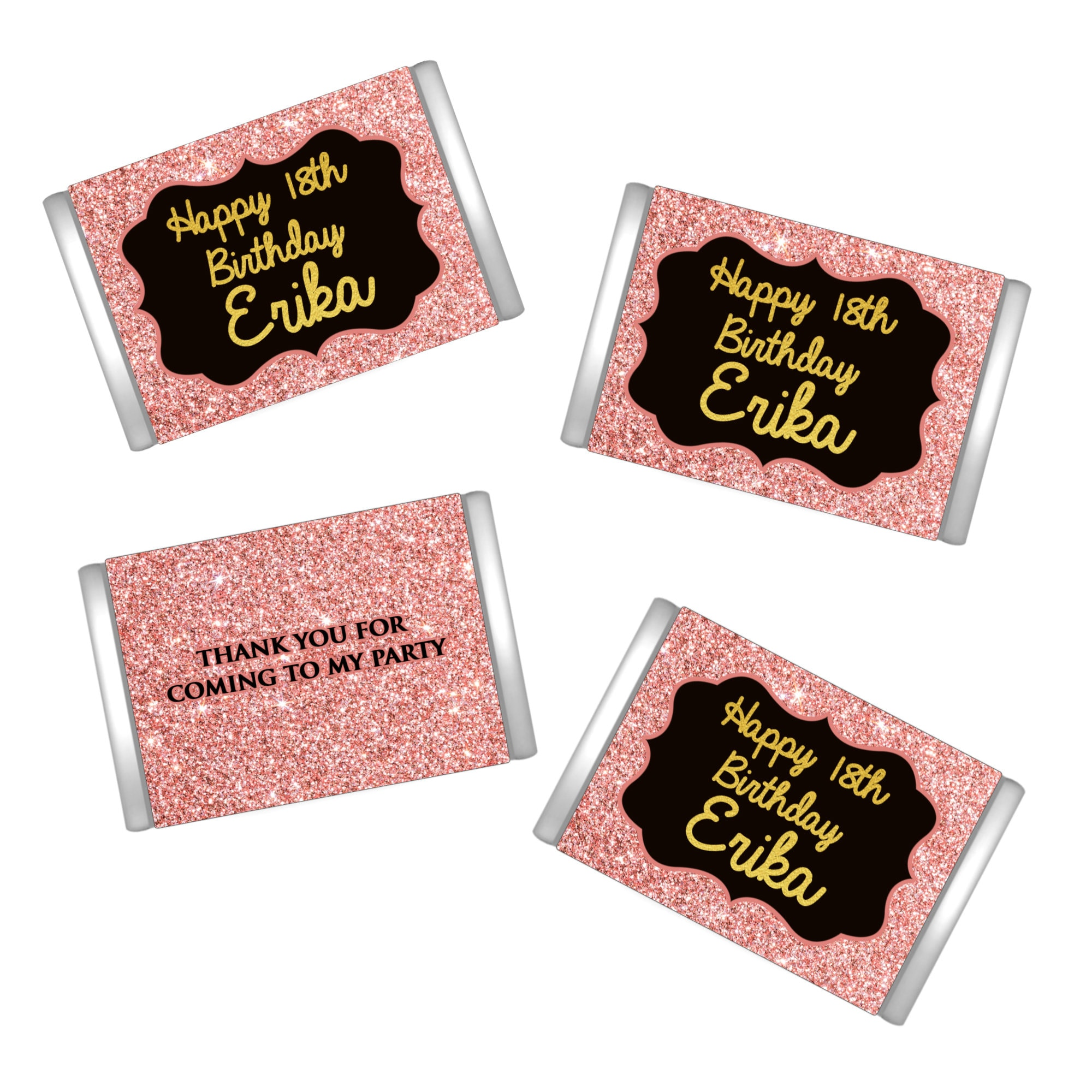 Rose Gold Birthday Miniatures Chocolate Wrappers