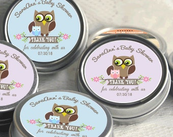 12 Personalized Baby Shower Mint Tins - Baby Owl Baby Shower Favors -Baby Shower Favors - Owl Favors  - Birthday Favors