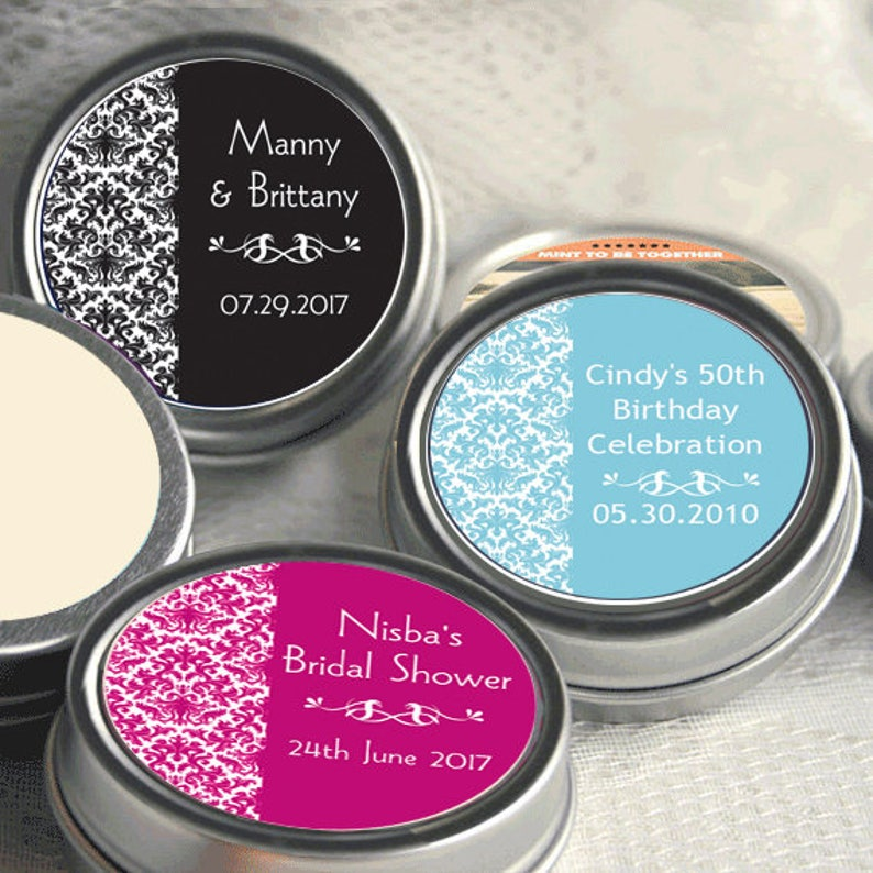 12 Damask Mint Tins Wedding Decor Wedding Mints Damask Favors Wedding Decor Personalized Wedding Tin Mints Wedding Favors