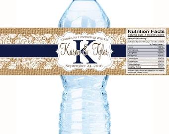 30 Personalized Monogram Water Bottle Labels -  Wedding Bottled Water Labels -Rustic Wedding - Burlap and Lace - Wedding Décor
