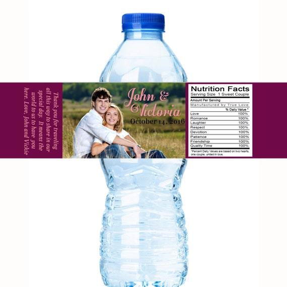 30 Wedding Water Bottle Labels 3 sizes Bottled Water Labels Bottle Stickers Water Bottle Wraps Wedding Bottled Water Labels