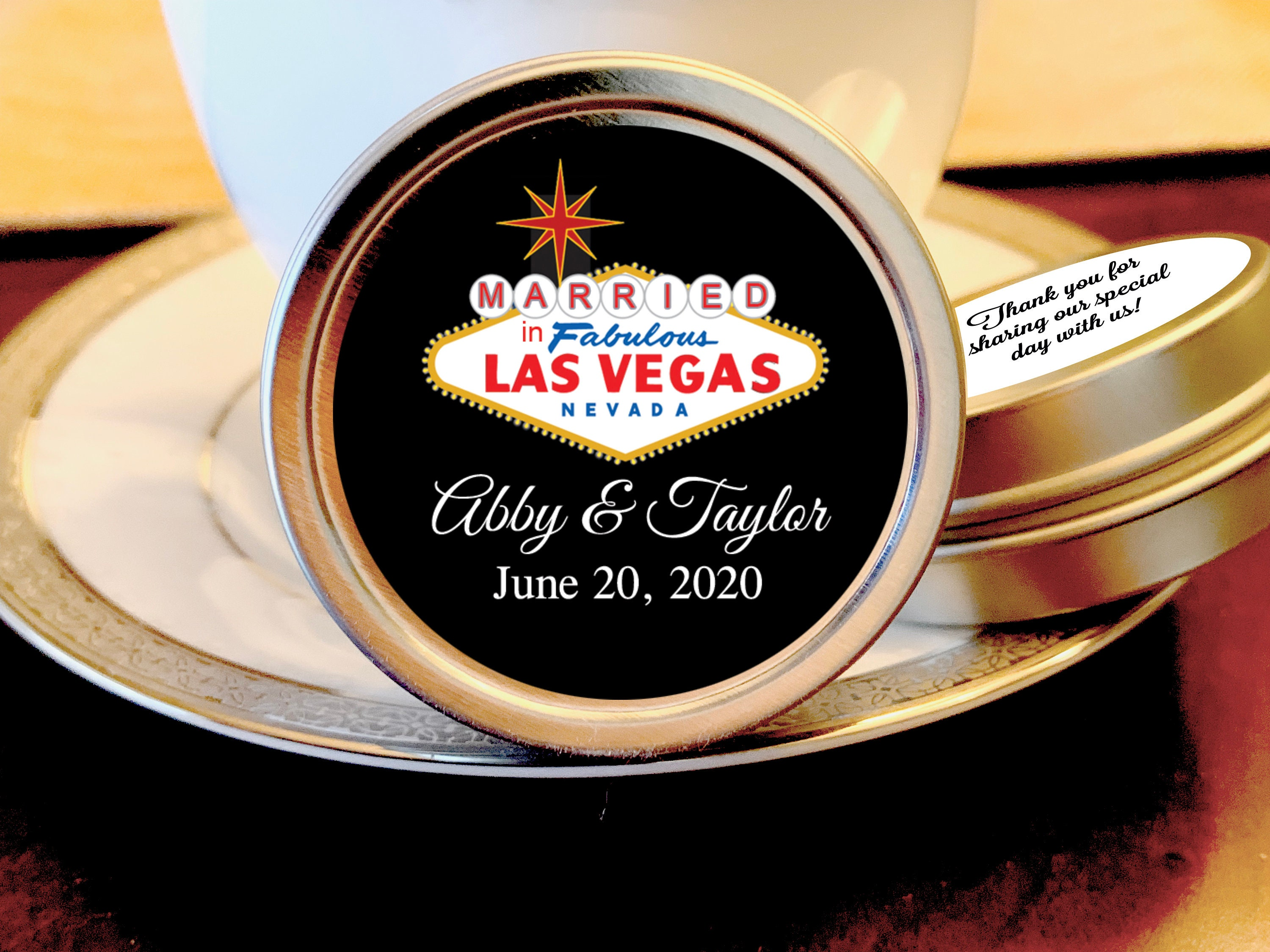Married in las vegas stickers custom labels wedding labels las vegas wedding decor thank you stickers custom color stickers
