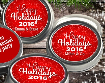 12 Personalized Happy Holidays Mint Tins Favors - Christmas Tin Mints - Christmas Favors - Holiday Party Favors - Corporate Party Favors