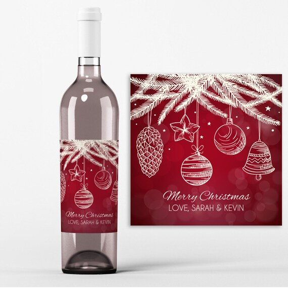Christmas Wine Bottle Label 4 Christmas Wine Labels Christmas