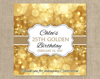 12 Large Birthday Hershey Candy Bar Wrappers - Candy Bar Labels, Candy Bar Stickers, Glow Party, Glitter, Birthday Decor, Gold Party Decor