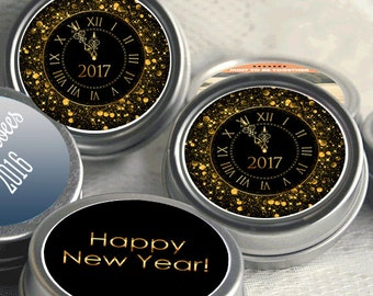New Year's Eve - 12 Silver Mint Tin Party Favors - New Year's Eve Party Supplies - New Year Mints - Mid Night Kiss