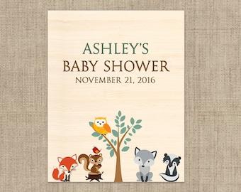 Baby Shower Wine Label - Custom Wine Label - Personalized Wine Label - Woodlands Baby Wine Bottle Label - Baby Animals Wine Label