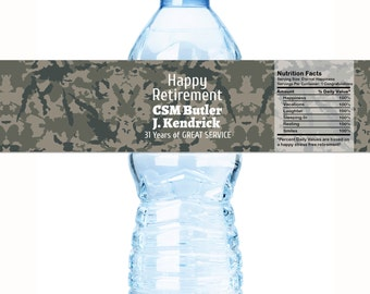Retirement Water Bottle Labels - Armed Services Retirement Water Labels - 30 Military Retirement Labels - Camouflage Retirement Labels