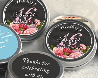 Sweet 16 Birthday Mint Tin Party Favors - Sweet 15 - Birthday Party Decor - Birthday Favors - Birthday Favor Ideas - Rose