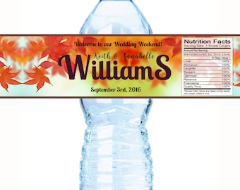 20 Wedding Water Bottle Labels - Fall Leaves Water Bottle Labels - Wedding Decor - Bottle Wraps - Personalized Wedding Favors - Fall Wedding