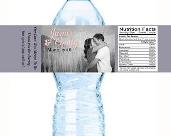 30 Personalized Photo Water Bottle Labels - Wedding Water Bottle Labels - Wedding Decor - Photo Water Bottle Labels  - Water Bottle Wraps