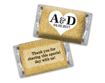 Personalized Chocolate Wrappers -  Faux Gold Glitter Heart Hershey Stickers - Personalized Nugget Wrappers, Miniature Chocolate Wrappers