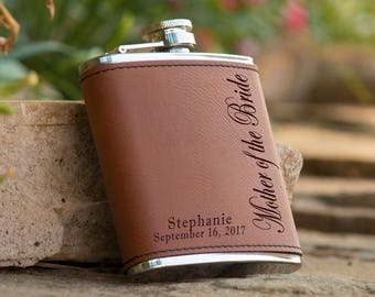 Personalized 6 oz. Leatherette Stainless Steel Flask - Mother of the Bride Flask -  Mother of the Groom Flask - Personalized Brown Flask