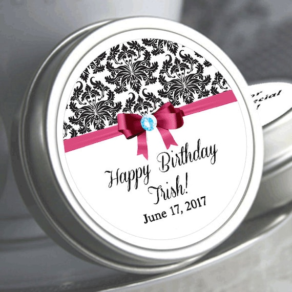 12 personalized damask ribbon birthday mint tins need a different