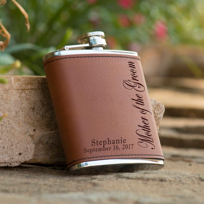 Personalized Mother of the Groom Flask - Mother of the Bride Flask - Bridal  Party Flask - Personalized Flask - Brown Leather Wrapped Flask