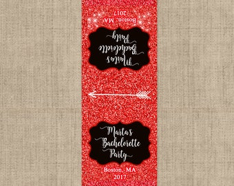 Bachelorette Party Tic Tac Favor Stickers,  Tic Tac Label, Tic Tac Favors, Red Glitter, Personalized Favor,  - Glitter Look