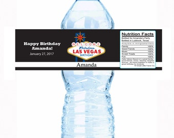 """30 Personalized Las Vegas Birthday Water Bottle Labels - Select the quantity you need below in the """"Pricing & Quantity"""" option tab"""