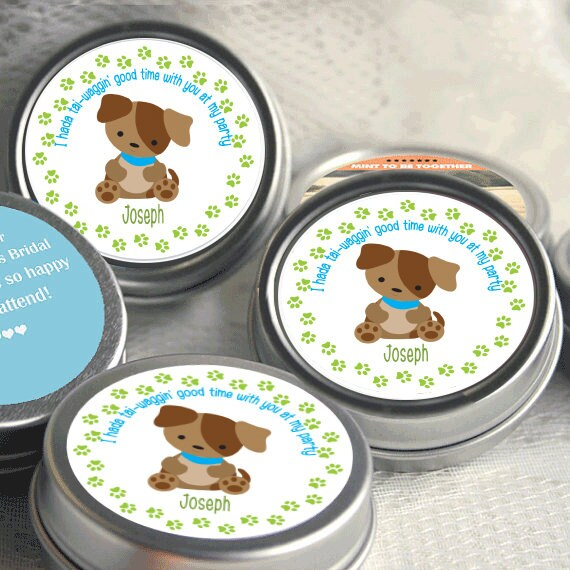 Puppy Party Mint Tin Party Favors Puppy Themed Party Supplies
