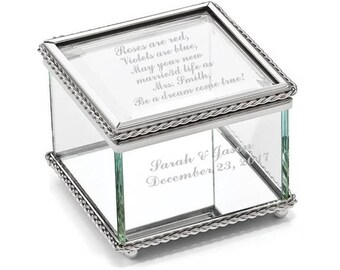 Engravable Glass Jewelry Box, Beaded Trinket Box, Personalized Jewelry Box, Glass Jewelry Box, Glass Box, Bride's Wedding Gift